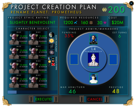 UI mock of the Project screen